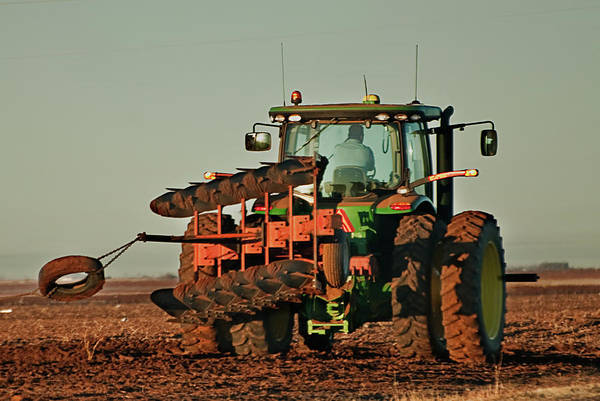 Photograph - Tractor Plowing The Cotton Field by Melany Sarafis
