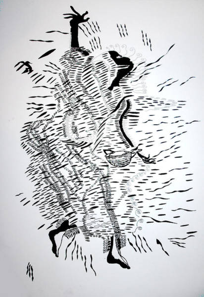 Drawing - Traditional Dance - Central African Republic by Gloria Ssali
