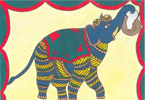 Kalamkari Painting - Traditional Indian Elephant by Kavya Balupari