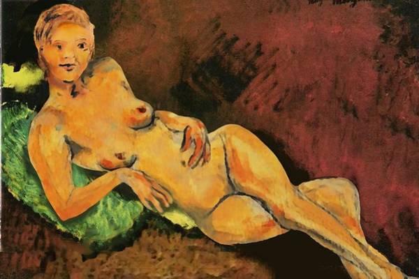 Traditional Modern Female Nude Reclining Art Print