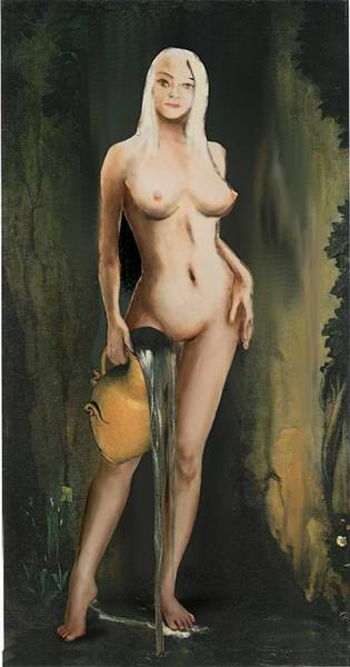 Traditional Modern Female Nude Standing Art Print