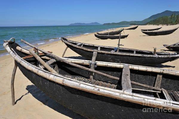 Wall Art - Photograph - Traditionnal Fishing Boats On Vinh Hien Beach by Sami Sarkis