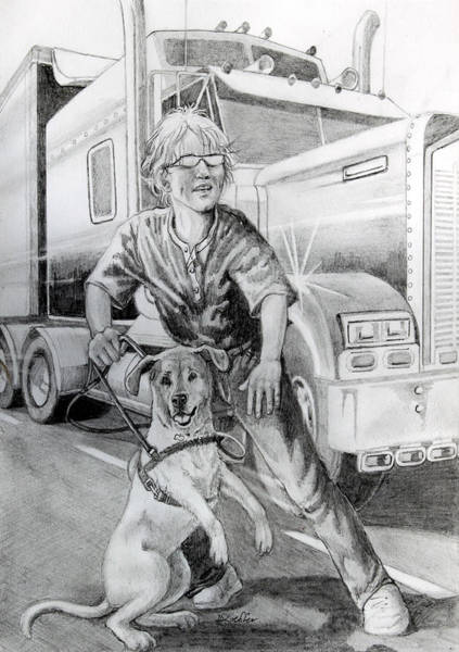 Service Dog Painting - Tragedy Averted by Hanne Lore Koehler