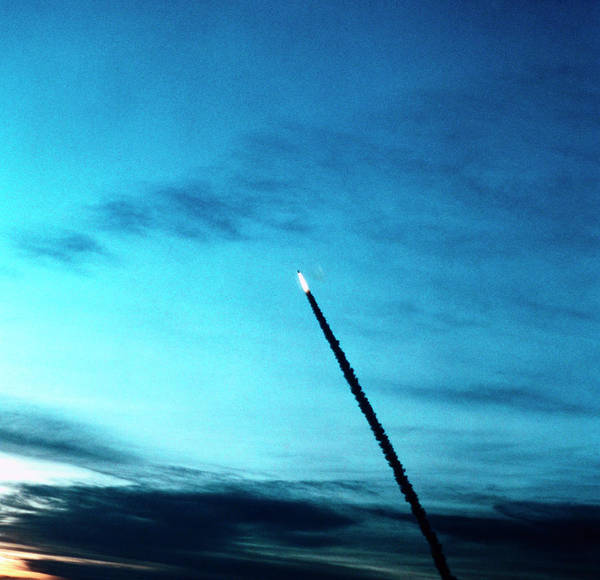 Photograph - Trail Of Smoke Behind The Space Shuttle At Launch by Stockbyte