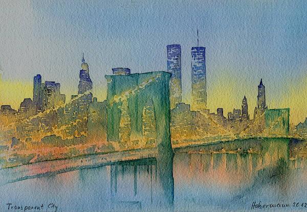 Manhattan Skyline Painting - Transparent City by Thomas Habermann