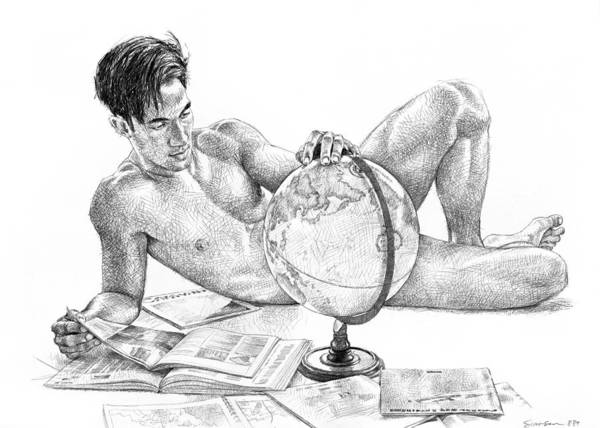 Male Nude Drawing - Traveler by Douglas Simonson