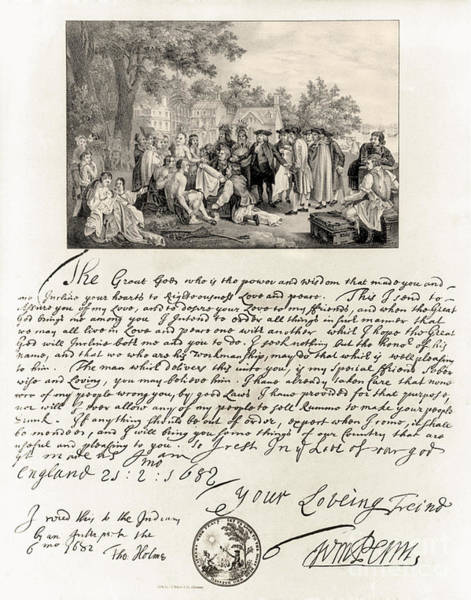 Cursive Photograph - Treaty Between William Penn by Photo Researchers