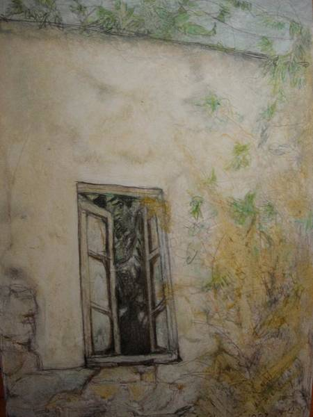 Crumble Drawing - Tree Window by Diane montana Jansson