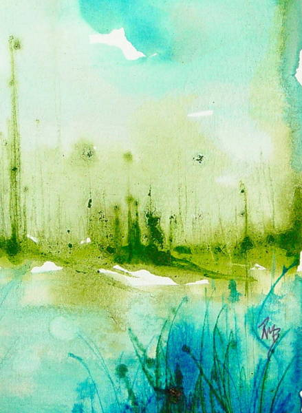 Trees By Water Art Print