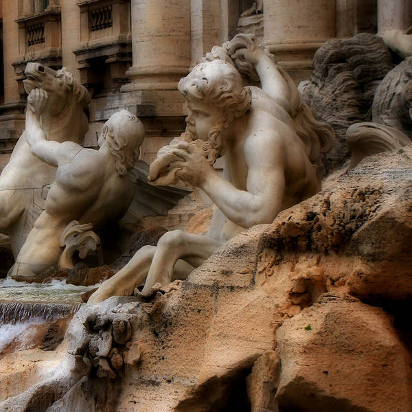 Photograph - Trevi Fountain Detail by Andrew Fare