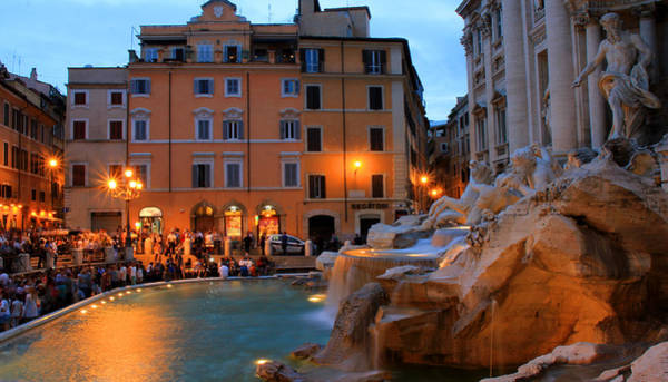 Photograph - Trevi Fountain Night by Andrew Fare