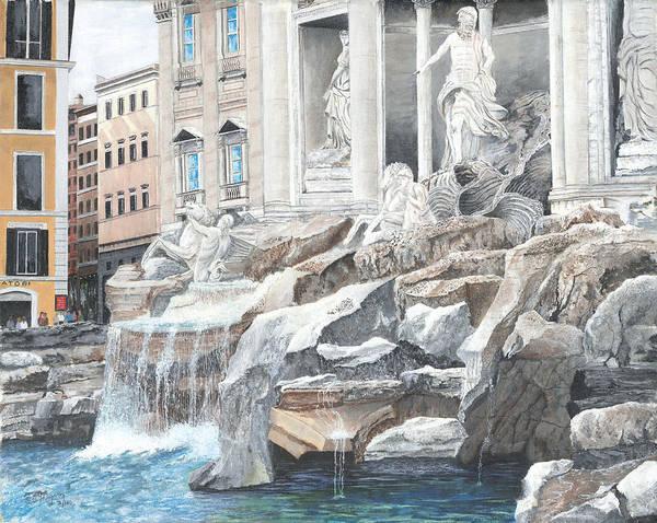 Wall Art - Painting - Trevi Fountain Rome by Stuart B Yaeger
