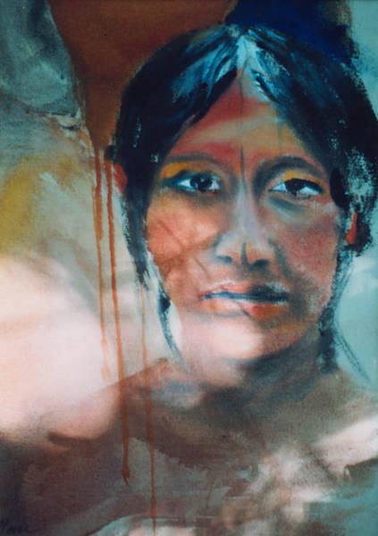 Painting - Tribal Man Detail 1975 by Nancy Griswold