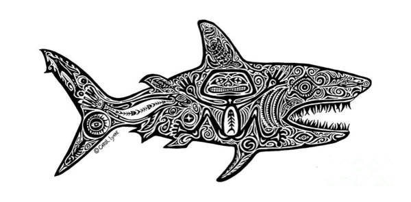 Wall Art - Drawing - Tribal Shark by Carol Lynne
