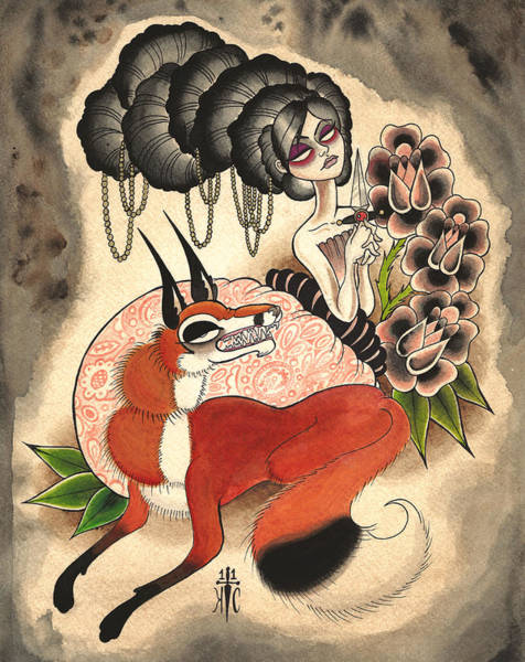 Tattoo Flash Painting - Trickster by Kate Collins