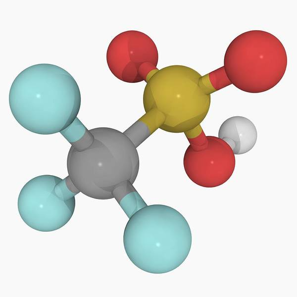 Sulphur Digital Art - Trifluoromethanesulfonic Acid Molecule by Laguna Design