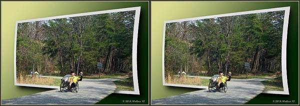 Stereogram Photograph - Trike Wave - Gently Cross Your Eyes And Focus On The Middle Image by Brian Wallace