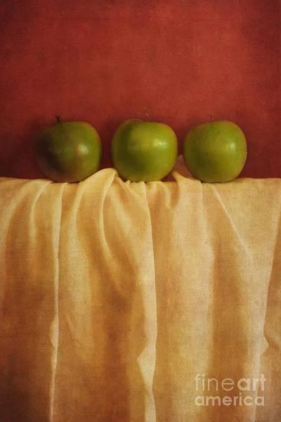 Tabletop Wall Art - Photograph - Trois Pommes by Priska Wettstein