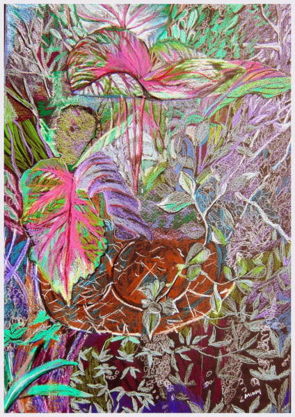 Ferns Drawing - Tropical Basket by Mindy Newman
