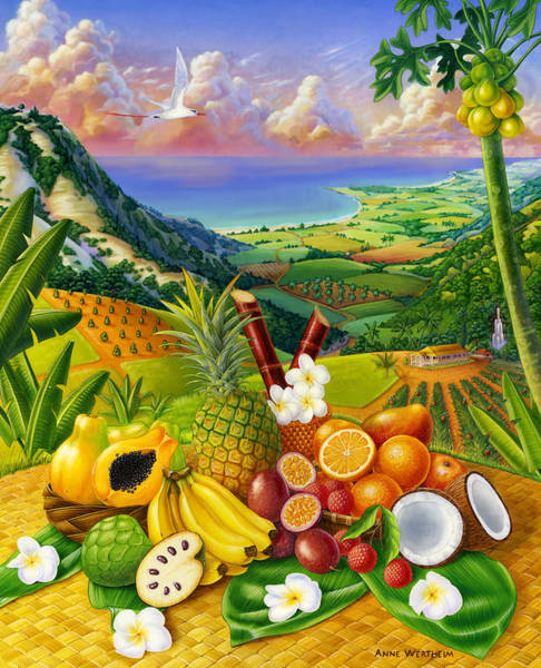 Mixed Media - Tropical Fruit Medley by Anne Wertheim