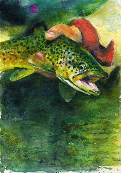 Trout Watercolor Wall Art - Painting - Trout In Hand by John D Benson