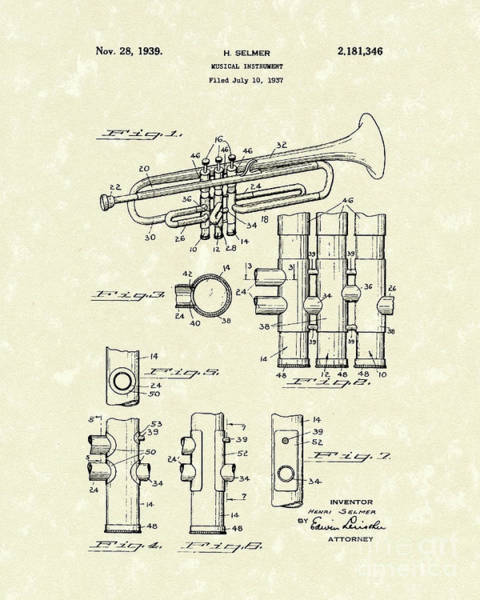 Drawing - Trumpet 1939 Patent Art  by Prior Art Design
