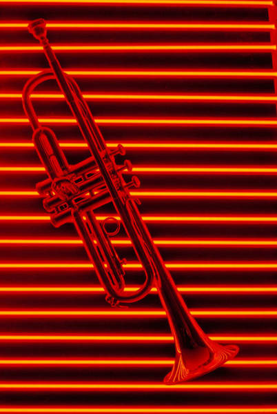 Neon Photograph - Trumpet And Red Neon by Garry Gay