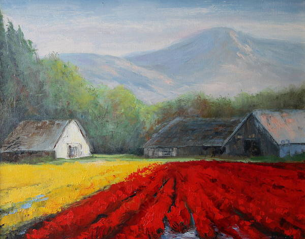 Skagit Valley Painting - Tulips Below The Cascade Foothills by Becky Bragg