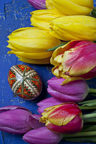 Egg Shell Photograph - Tulips With Easter Egg by Garry Gay