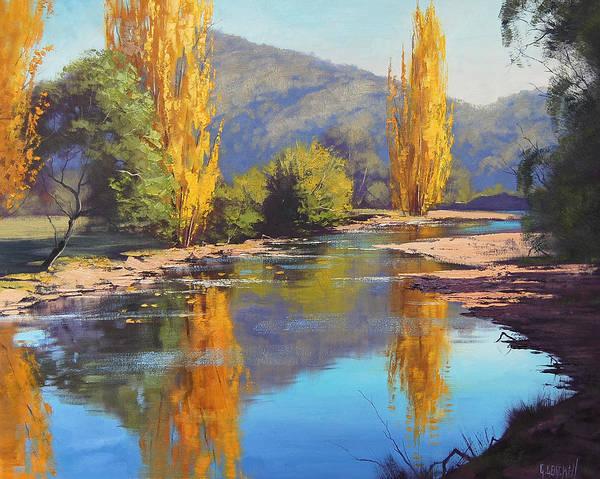 Amber Wall Art - Painting - Tumut River Gold by Graham Gercken
