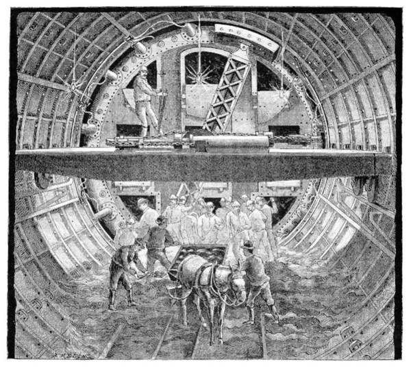 Excavator Photograph - Tunnel Construction, 19th Century by