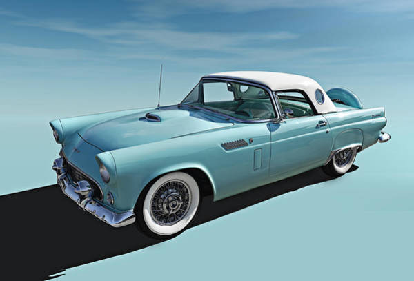 Wall Art - Digital Art - Turquoise T-bird by Douglas Pittman
