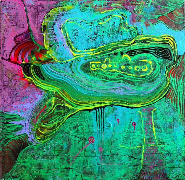 Wall Art - Painting - Turtle In The Emerald Ocean by Lolita Bronzini