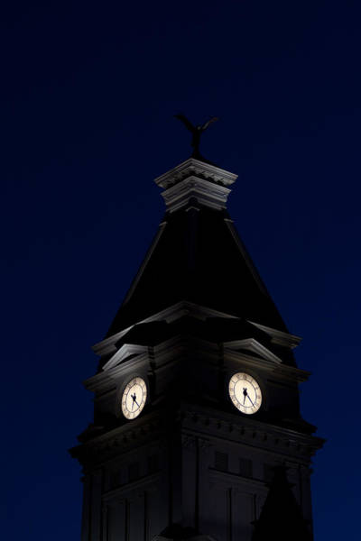 Photograph - Twilight View Of Clock At Clarksville Historic Courthouse  by Ed Gleichman