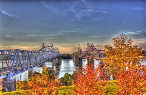Photograph - Twin Bridges Over The Mississippi by Barry Jones