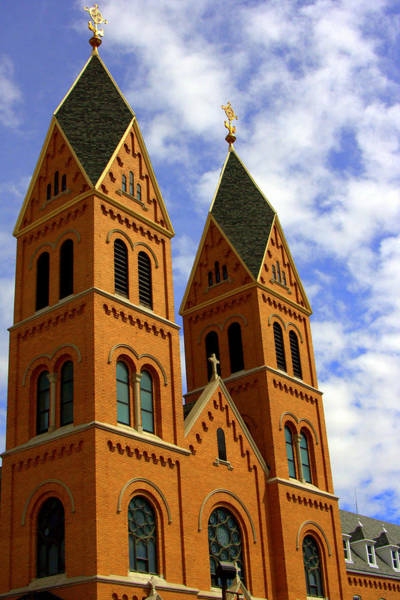 Sacred Heart Photograph - Twin Spires At Sacred Heart Monastery by Tam Graff