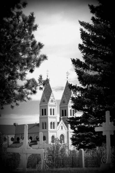 Sacred Heart Photograph - Twin Spires Of Sacred Heart Monastery From The Cemetary by Tam Graff