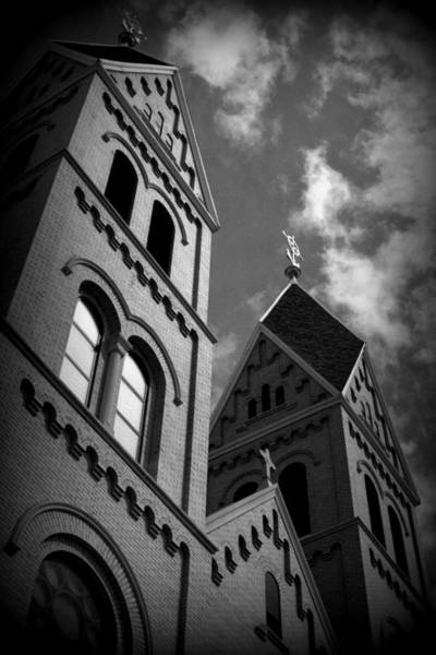 Sacred Heart Photograph - Twin Spires Of Sacred Heart Monastery In Black And White by Tam Graff