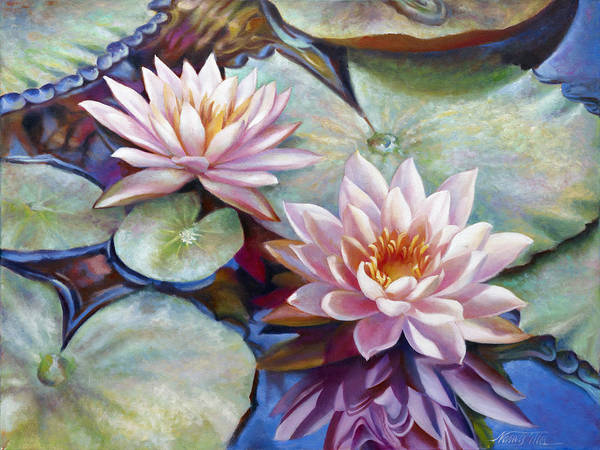 Wall Art - Painting - Twin Water Lilies And Reflection by Nancy Tilles