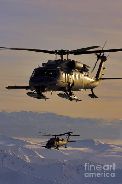 National Guard Photograph - Two Alaska Air National Guard Hh-60g by Stocktrek Images