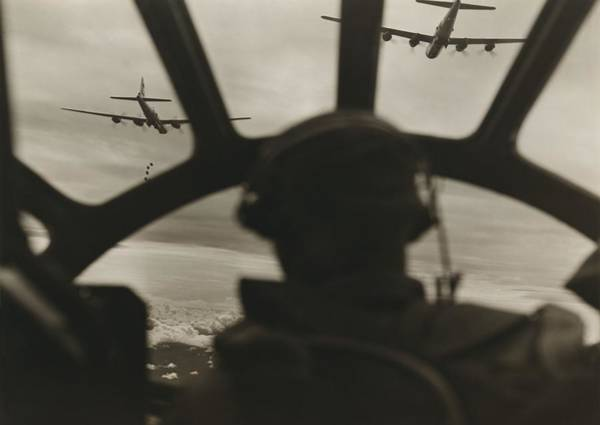Superfortress Photograph - Two B-29 Super-fortresses Drop Bombs by Everett