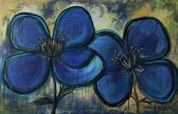 Two Blue Poppies Art Print