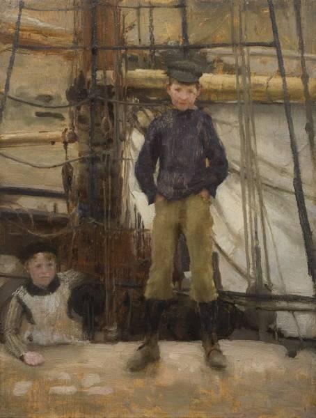 Newlyn Painting - Two Children On Deck by Henry Scott Tuke
