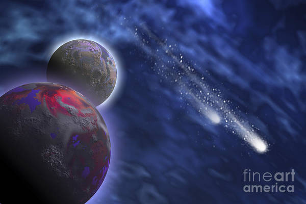 Digital Art - Two Comets Stream Past A Planet by Corey Ford