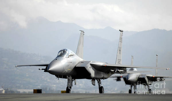Taxiway Wall Art - Photograph - Two F-15a Eagles On The Flight Line by Stocktrek Images