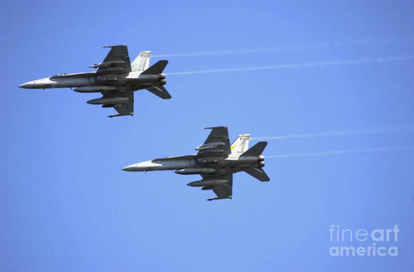 Photograph - Two F-18 Hornets In Flight by Stocktrek Images