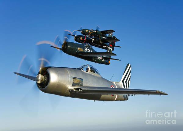 Photograph - Two Grumman F8f Bearcats And Two F7f by Scott Germain