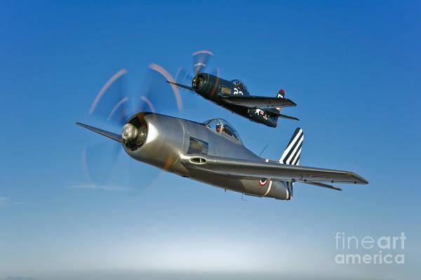 Photograph - Two Grumman F8f Bearcats In Flight by Scott Germain