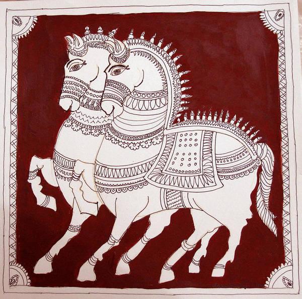 Kalamkari Painting - Two Horses by Asha Sudhaker Shenoy