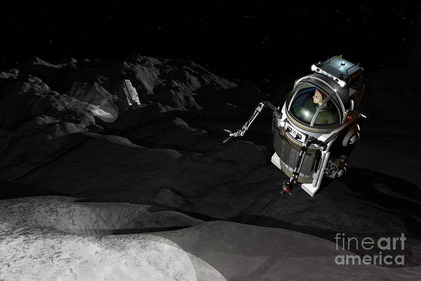 Orion Digital Art - Two Manned Maneuvering Vehicles Explore by Walter Myers